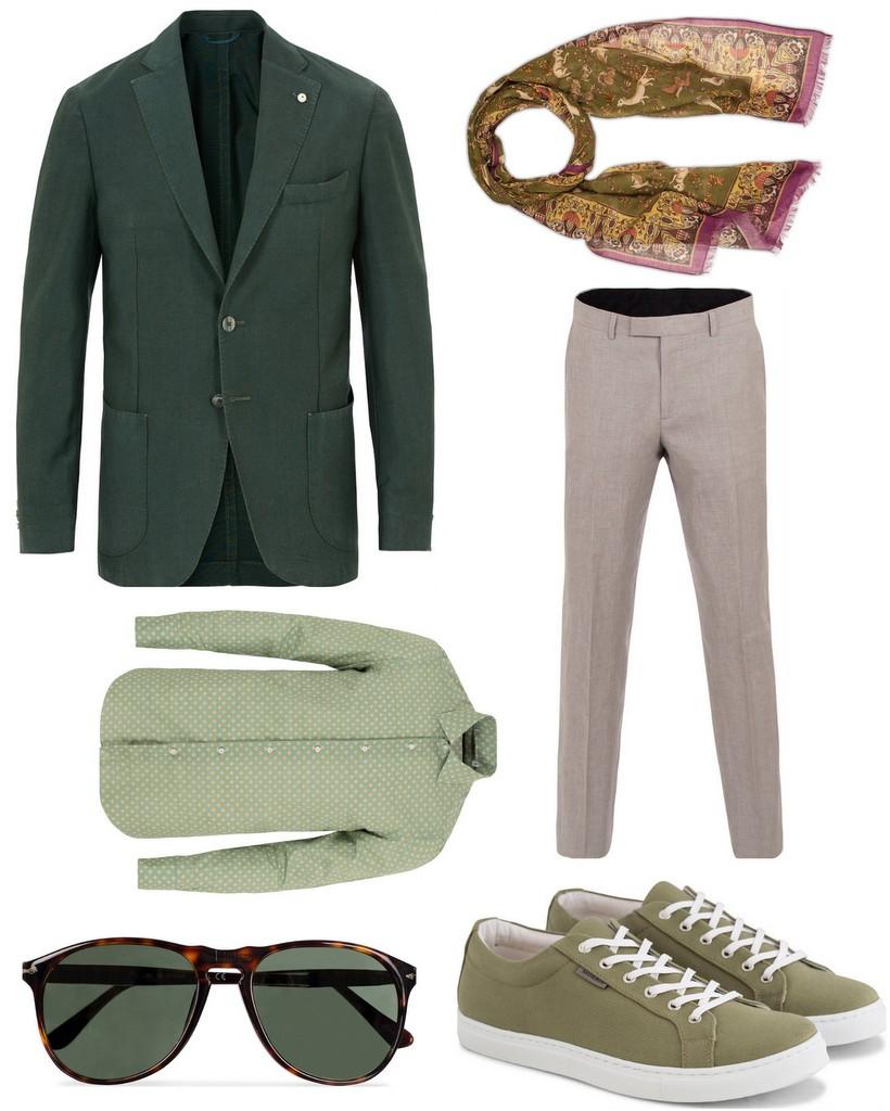 tøj til bryllup grøn jakke