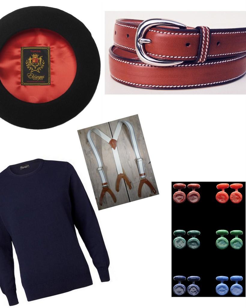 Herregarderoben baskerhue sweater-bælte-seler-manchetknapper