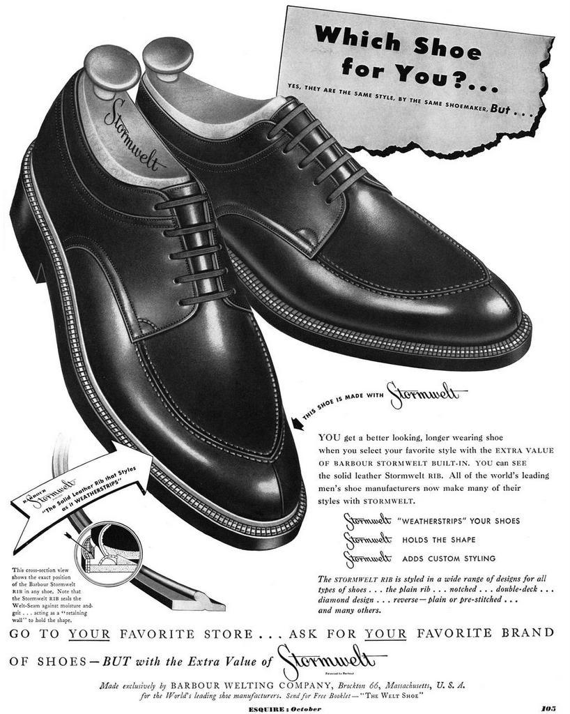 split toe norwegian shoes ad esquire-1949