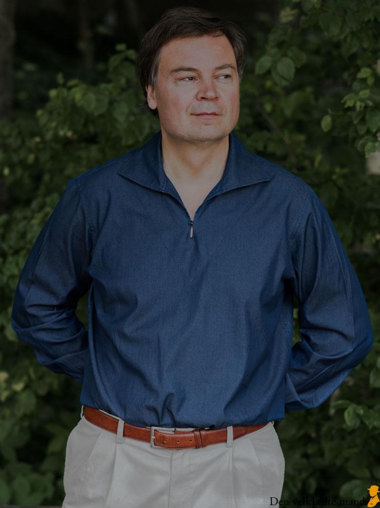 chambray-skjorte i popover design med nedfaldskrave