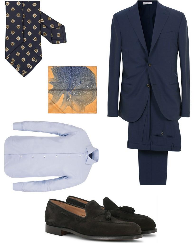 tøj til bryllup blåt jakkesæt