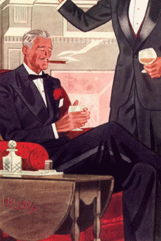 9b82f56a54a9 Smoking med en rød nellike som knaphulsblomst. Illustration fra 1935.