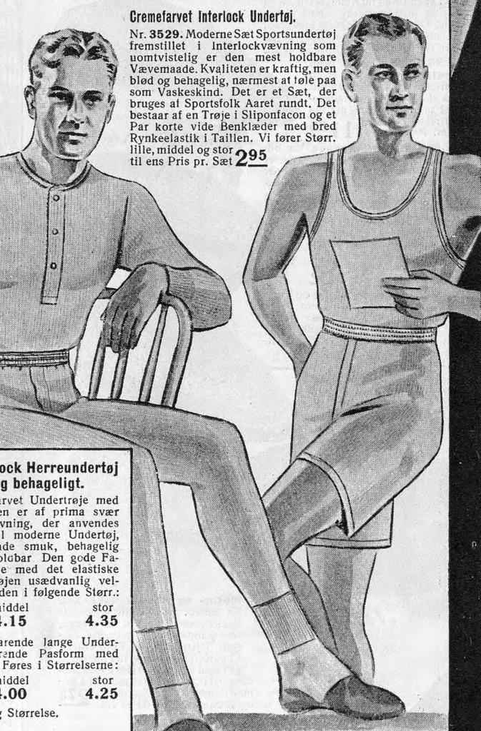 undertøj til mænd i 1930'erne