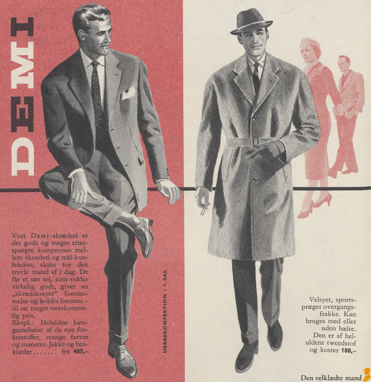 Tøj til mænd forår og sommer ifølge Illum i 1957