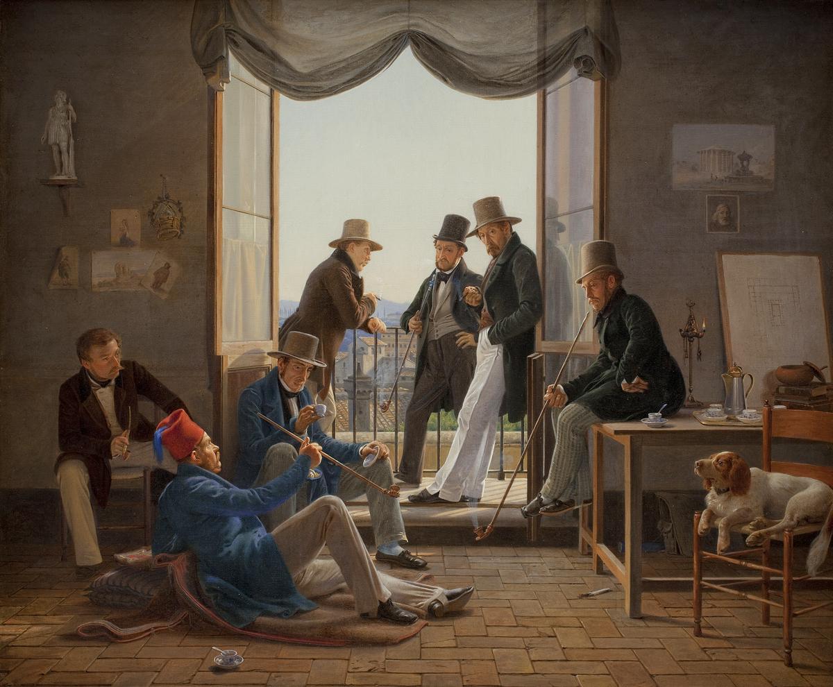 portrætmaler constantin hansen et selskab af danske kunstnere i rom