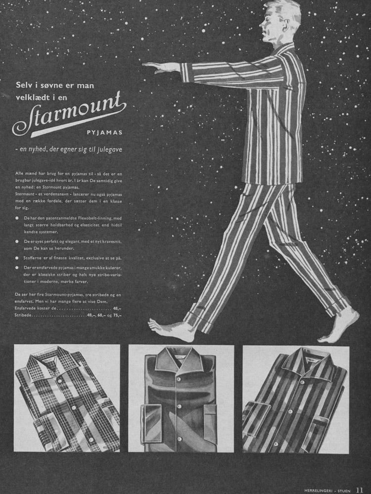 pyjamas til mænd historisk 1960