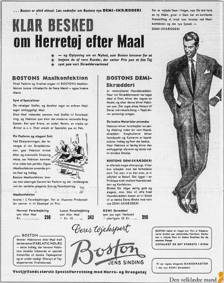 skræddersyet jakkesæt made-to-measure annonce 1955