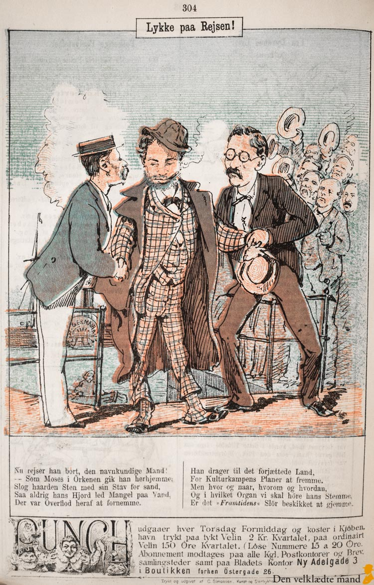 Georg Brandes satiretegning 1877 i punch