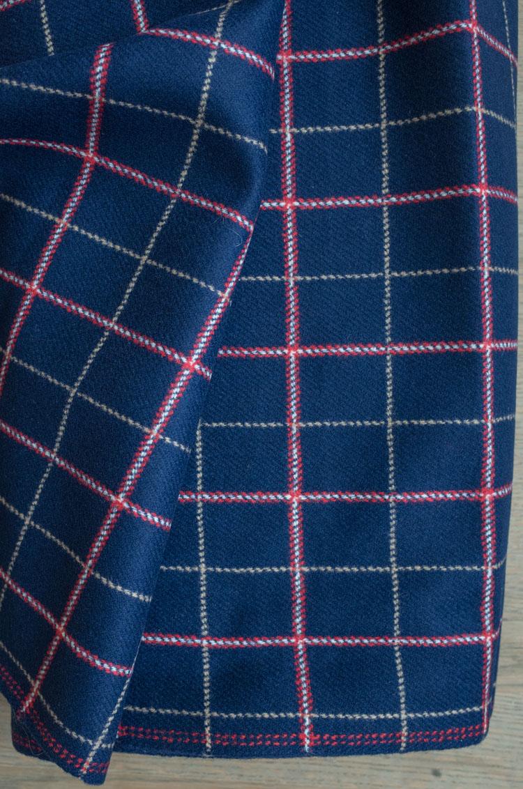 blåt jakkestof vintagestof