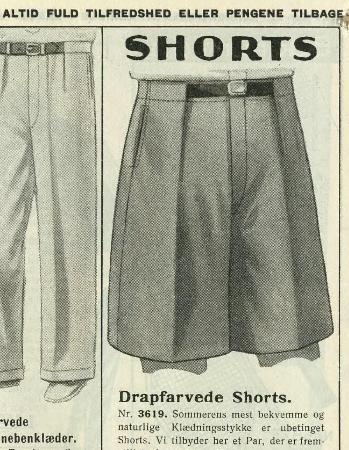 shorts korte bukser til mænd historisk