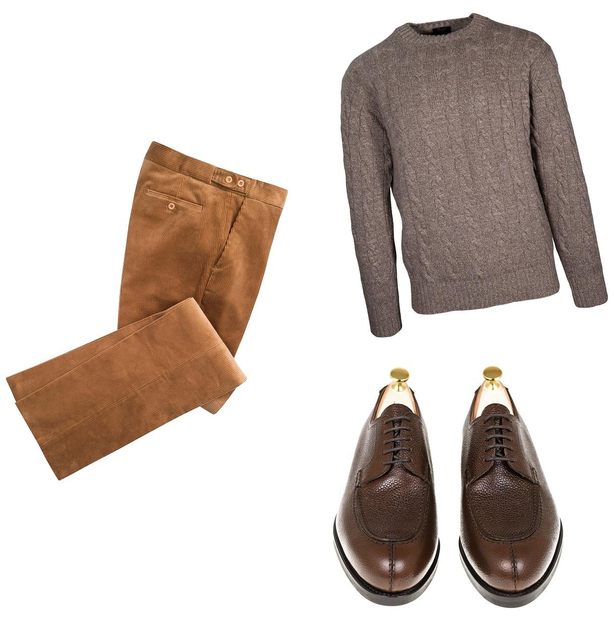 vinter outfit til mænd med fløjlsbukser