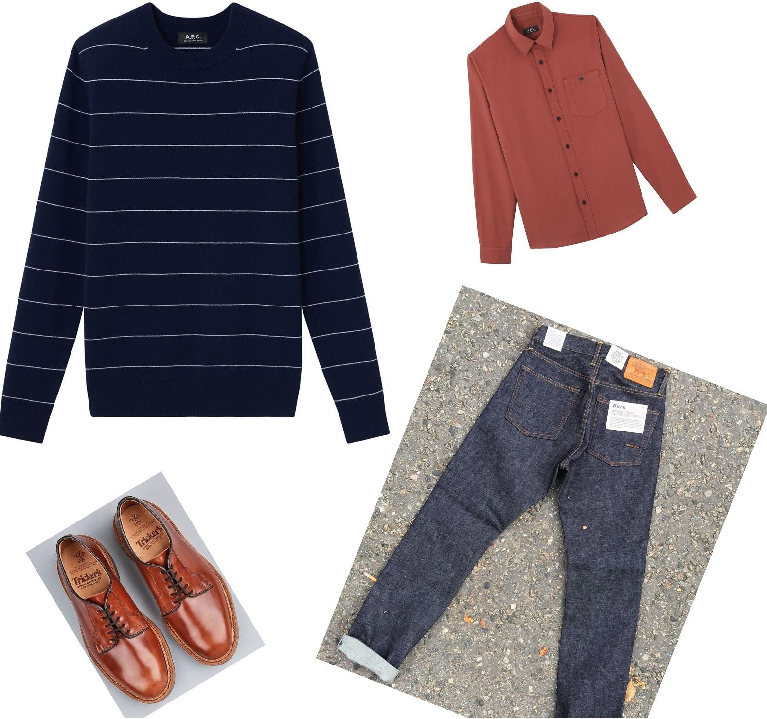 trøje og skjorte outfit til mænd