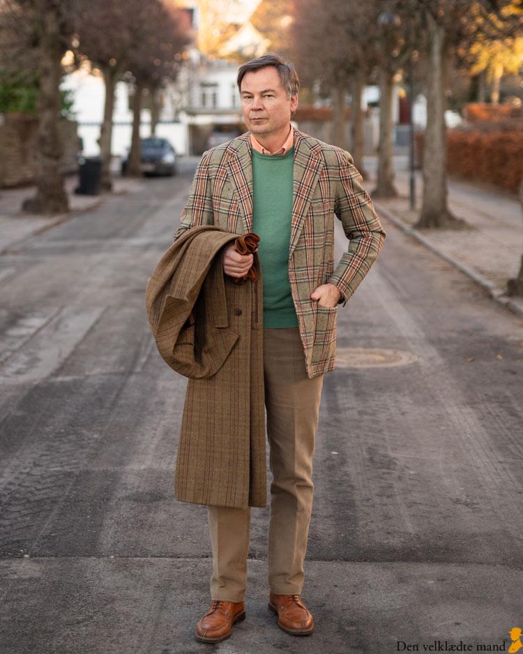 go green tøjstil til mænd med tweedjakke