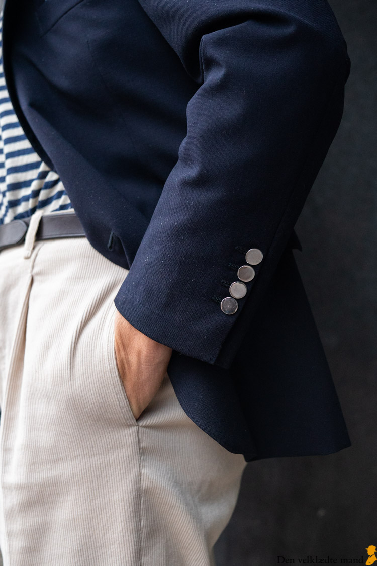 vintage blå blazer detalje